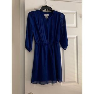 Royal Blue dress with mesh 3/4 sleeves